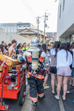 People evacuated from Hotel during Fire Alarm in Kyoto Japan on 14 July 2016 Stock Images