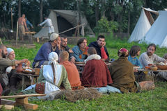 People at an event dedicated to the reconstruction of the life of the Vikings Stock Photo
