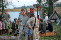 People at an event dedicated to the reconstruction of the life of the Vikings Stock Photos
