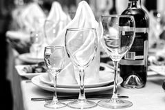 People event holiday official people person drink alcohol crockery black and white engagement honeymoon concept. Cropped close up stock image
