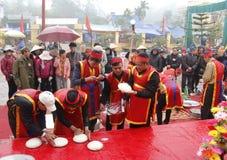 People exam to make round sticky rice cake Royalty Free Stock Photo