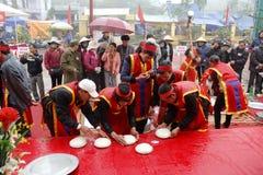 People exam to make round sticky rice cake Stock Photos
