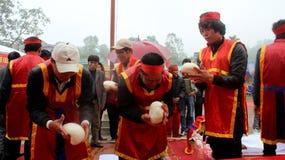 People exam to make round sticky rice cake Royalty Free Stock Image