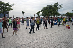 People excercise  at riverbank in Pnom Penh Stock Photos