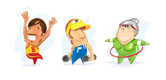 People excersise. Two men and woman exercise Stock Images