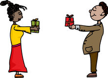 People Exchanging Gifts. Cute man and woman exchanging gifts over white background Royalty Free Stock Photo