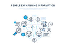 People exchanging information. Communications, feedback. Internet network, social network. Royalty Free Stock Photo