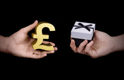 People exchanging money for gift Royalty Free Stock Photos