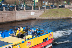 People on the excursion boat. Saint-Petersburg. Russia Stock Image