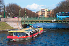 People on the excursion boat. Saint-Petersburg. Russia Royalty Free Stock Images