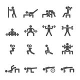 People exercise in fitness icon set, vector eps10 Royalty Free Stock Image