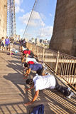 People exercise push-up at Brooklyn Royalty Free Stock Images