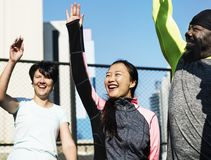 People exercising at fitness gym stock image