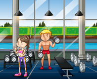 People exercising in the gym. Illustration Royalty Free Stock Images