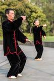 People exercising tai chi gucheng park shanghai china Stock Photos