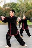 People exercising tai chi gucheng park shanghai china Stock Images