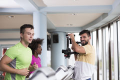 People exercisinng a cardio on treadmill in gym Royalty Free Stock Photo