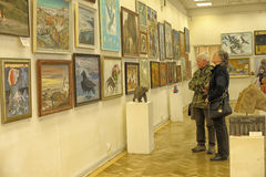 People in the exhibition of contemporary artists Stock Image