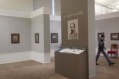 People in the exhibition of Pavel Fedotov Stock Images