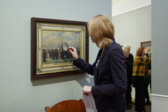 People in the exhibition of Pavel Fedotov Royalty Free Stock Images