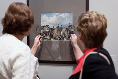People in the exhibition of Pavel Fedotov Royalty Free Stock Image