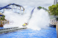 People experience water ride summer fun. Very high resolution, 42.2 megapixels Stock Images