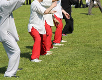 People expert martial arts Tai Chi train in the public park. People expert martial arts Tai Chi train with movements to find the right positions in the public royalty free stock images
