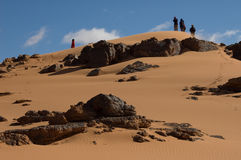 People in  exploration sahara desert Royalty Free Stock Photography
