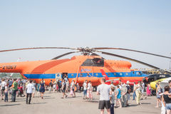 People explore the MI-6A helicopter Stock Photo