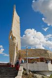 People explore Zaisan war monument located on the hill in Ulaanbaatar, Mongolia. Royalty Free Stock Photography
