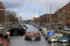 People are exploring Copenhagen in touristic boat Royalty Free Stock Photos