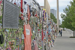 People Exploring the Oklahoma Memorial Fence Stock Image