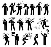 People Expressions Feelings Emotions While Talking on a Cellphone Clipart. A set pictogram representing the expression and actions of someone while talking on Royalty Free Stock Image