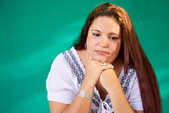 People Expressions Sad Worried Depressed Overweight Latina Woman. Cuban people and emotions, portrait of sad overweight latina looking down. Depressed fat Stock Photos