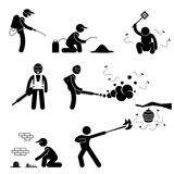 People Exterminator Pest Control Pictogram. A set of pictogram representing pest exterminator Stock Photos