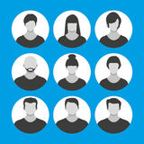 People face, avatar icon, cartoon character Royalty Free Stock Photo
