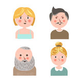 People face avatars for applications or web profile vector flat icons Royalty Free Stock Image
