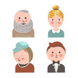 People face avatars for social net applications personal profile vector flat icons Royalty Free Stock Photography