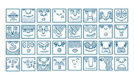 People face cartoon vector icons Stock Image