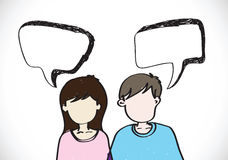 People face emotions icons with dialog speech bubbles Stock Photo