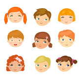 People face set. Illustration of people face set Stock Image