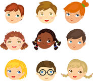 People face set. Illustration of people face set Stock Photo