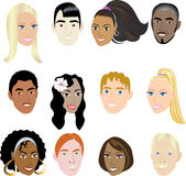 People Faces 2. Vector Illustration set of 12 people in a diverse set of cultures. Also available in other sets Royalty Free Stock Photo