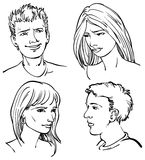 People Faces. A black and white line drawing of young adult faces Stock Image