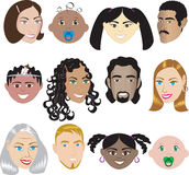 People Faces 3. Vector Illustration set of 12 different faces of all sexes, races and ages. Also available in other sets Royalty Free Stock Photography