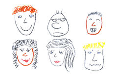People faces. Child drawing of various faces and emotion expressions made with wax crayons Royalty Free Stock Photo