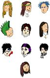 People faces. Lots of illustrations of vector people faces royalty free illustration