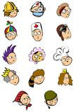 People faces. Lots of illustrations of vector people faces stock illustration