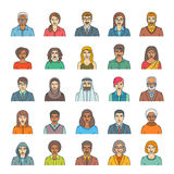 People faces avatars flat thin line vector icons Stock Images