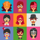 People Faces In Carnival Masks Royalty Free Stock Images